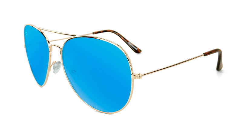Sunglasses with Gold Metal Frame and Polarized Aqua Blue Lenses, Flyover