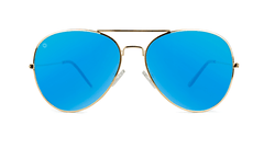 Sunglasses with Gold Metal Frame and Polarized Aqua Blue Lenses, Front