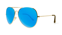 Sunglasses with Gold Metal Frame and Polarized Aqua Blue Lenses, Threequarter