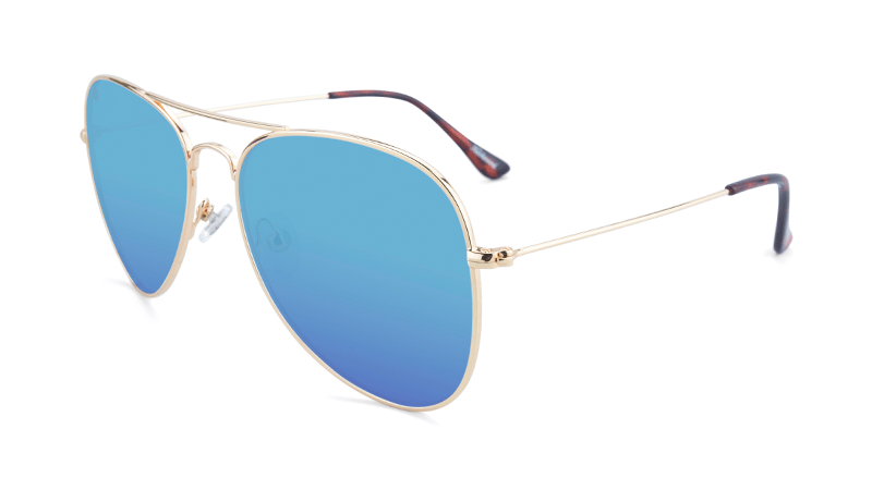 Sunglasses with Gold Metal Frame and Polarized Aqua Lenses, Flyover