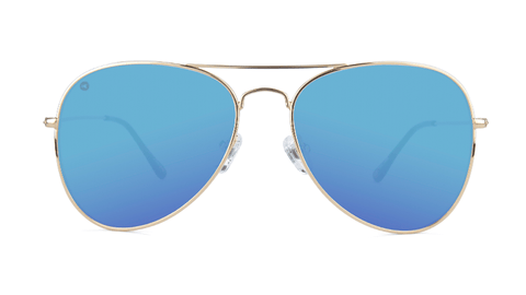 Sunglasses with Gold Metal Frame and Polarized Aqua Lenses, Back