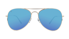 Sunglasses with Gold Metal Frame and Polarized Aqua Lenses, Front