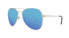 Sunglasses with Gold Metal Frame and Polarized Aqua Lenses, Threequarter