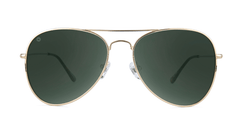 Sunglasses with Gold Metal Frame and Polarized Aviator Green Lenses, Front