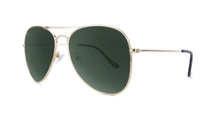 Sunglasses with Gold Metal Frame and Polarized Aviator Green Lenses, Threequarter