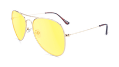 Sunglasses with Gold Metal Frame and Blue Light Blocker Lenses, Flyover