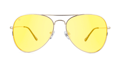 Sunglasses with Gold Metal Frame and Blue Light Blocker Lenses, Front