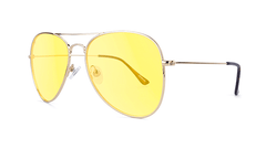 Sunglasses with Gold Metal Frame and Blue Light Blocker Lenses, Threequarter