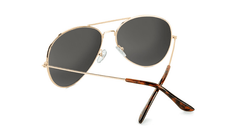Sunglasses with Gold Metal Frame and Polarized Aviator Green Lenses, Back