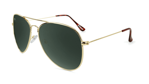 Sunglasses with Gold Frames and Polarized Green Aviator Lenses, Flyover