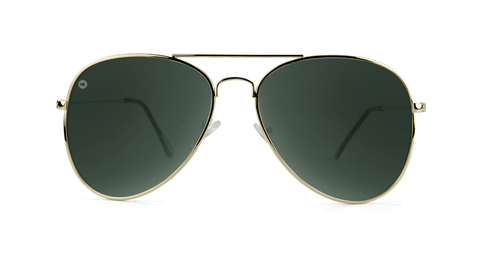 Sunglasses with Gold Frames and Polarized Green Aviator Lenses, Back