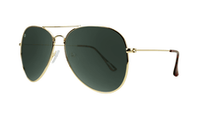 Sunglasses with Gold Frames and Polarized Green Aviator Lenses, Threequarter