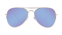Sunglasses with Gold Metal Frame and Polarized Snow Opal Lenses, Front