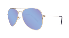 Sunglasses with Gold Metal Frame and Polarized Snow Opal Lenses, Threequarter