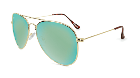 Sunglasses with Gold Frames and Polarized Yellow Aqua Lenses, Flyover