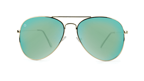 Sunglasses with Gold Frames and Polarized Yellow Aqua Lenses, Back