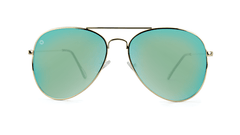 Knockaround Mile Highs Sunglasses with Gold Metal Frame and Polarized Yellow Aqua Blue Lenses, Front