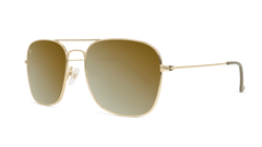 Sunglasses with Gold Metal Frame and Polarized Gold Lenses, Threequarter