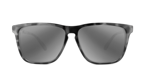 Sunglasses with Granite Tortoise Shell Frames and Polarized Silver Smoke Lenses, Back