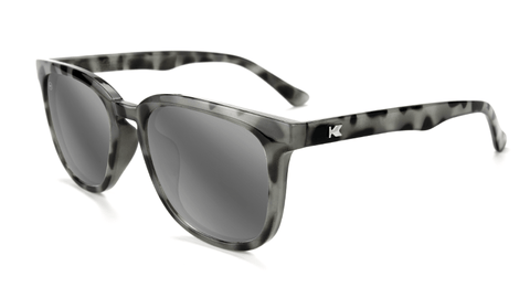 Sunglasses with Granite Tortoise Shell Frames and Polarized Silver Smoke Lenses, Flyover