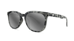 Sunglasses with Granite Tortoise Shell Frames and Polarized Silver Smoke Lenses, Threequarter