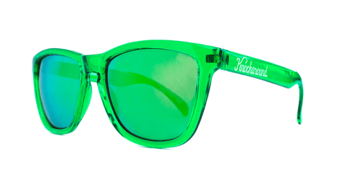Classics Sunglasses with Green Frames and Green Mirrored Lenses, Back