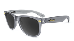 Fort Knocks Sunglasses with Frosted Grey Frames and Black Smoke Lenses, Flyover