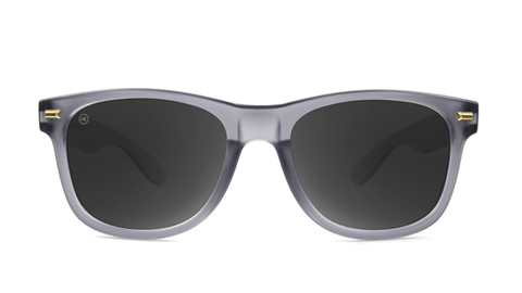 Fort Knocks Sunglasses with Frosted Grey Frames and Black Smoke Lenses, Back