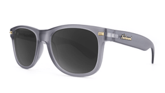 Fort Knocks Sunglasses with Frosted Grey Frames and Black Smoke Lenses, ThreeQuarter