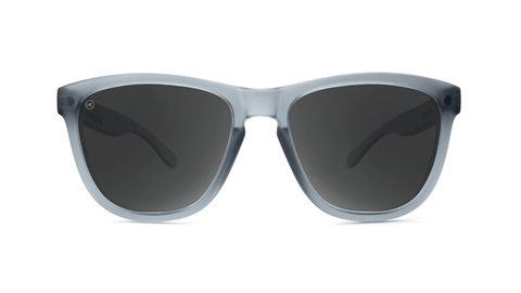 Premiums Sunglasses with Frosted Grey Frames and Black Smoke Lenses, Back