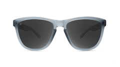 Premiums Sunglasses with Frosted Grey Frames and Black Smoke Lenses, Front