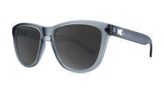 Premiums Sunglasses with Frosted Grey Frames and Black Smoke Lenses, ThreeQuarter
