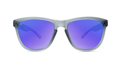 Premiums Sunglasses with Frosted Grey Frames and Blue Moonshine Mirrored Lenses, Front