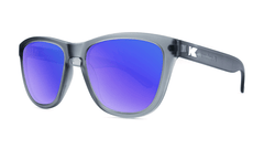 Premiums Sunglasses with Frosted Grey Frames and Blue Moonshine Mirrored Lenses, ThreeQuarter