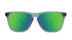 Knockaround Fast Lanes Frosted Grey Frame with Green Moonshine Lenses, Front