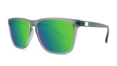 Knockaround Fast Lanes Frosted Grey Frame with Green Moonshine Lenses, Threequarter
