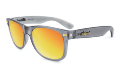 Fort Knocks Sunglasses with Frosted Grey Frames and Red Sunset Mirrored Lenses, Flyover