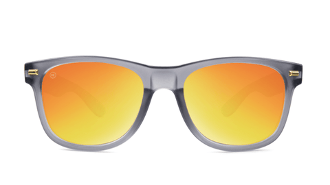 Fort Knocks Sunglasses with Frosted Grey Frames and Red Sunset Mirrored Lenses, Back