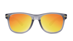Fort Knocks Sunglasses with Frosted Grey Frames and Red Sunset Mirrored Lenses, Front
