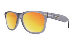 Fort Knocks Sunglasses with Frosted Grey Frames and Red Sunset Mirrored Lenses, ThreeQuarter