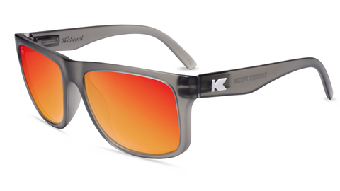 Sunglasses with Frosted Grey Frames and Polarized Red Sunset Lenses, Flyover
