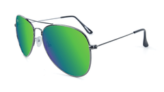 Knockaround Mile Highs Sunglasses with a Gunmetal Frame & Polarized Green Moonshine Lenses, Flyover