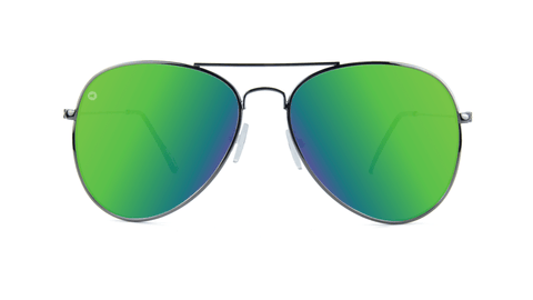 Knockaround Mile Highs Sunglasses with a Gunmetal Frame & Polarized Green Moonshine Lenses, Back