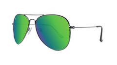 Knockaround Mile Highs Sunglasses with a Gunmetal Frame & Polarized Green Moonshine Lenses, Threequarter