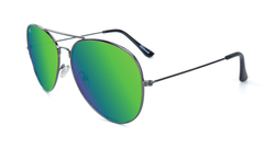 Sunglasses with Gunmetal Frame and Polarized Green Moonshine Lenses, Flyover