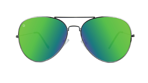 Sunglasses with Gunmetal Frame and Polarized Green Moonshine Lenses, Back