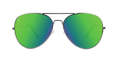 Sunglasses with Gunmetal Frame and Polarized Green Moonshine Lenses, Front
