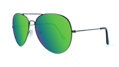 Sunglasses with Gunmetal Frame and Polarized Green Moonshine Lenses, Threequarter