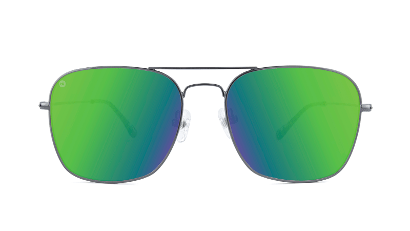 723cc6890 ... Sunglasses with Gunmetal Metal Frame and Polarized Green Moonshine  Lenses, Front ...