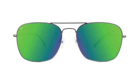Sunglasses with Gunmetal Metal Frame and Polarized Green Moonshine Lenses, Back